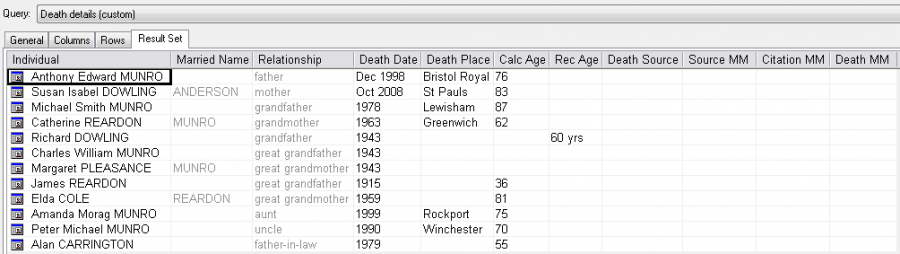 image of death details query screen
