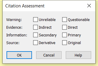 Citation Assessment more options